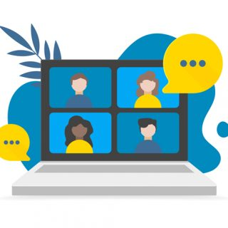 Video call conference, working from home, social distancing, business discussion on the laptop screen. Vector flat illustrations. Conference video call on laptop, backdrop scribble and leaves.