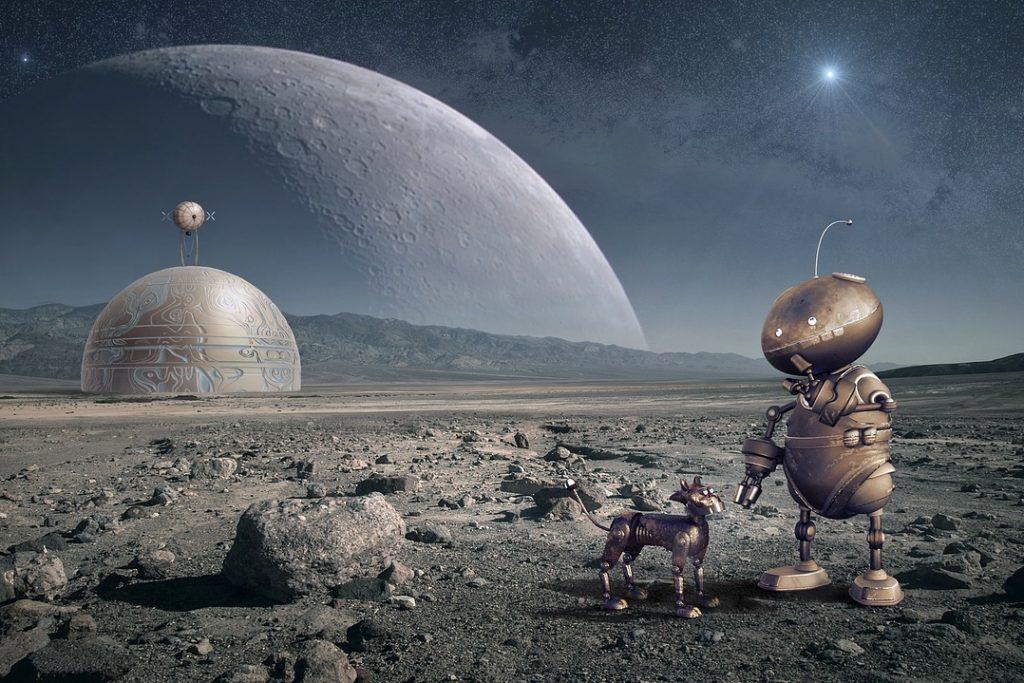 robot, planet, moon